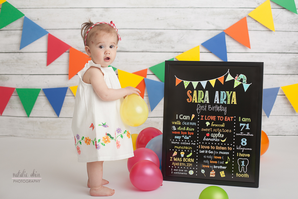Girl Cake Smash Birthday Chalkboard